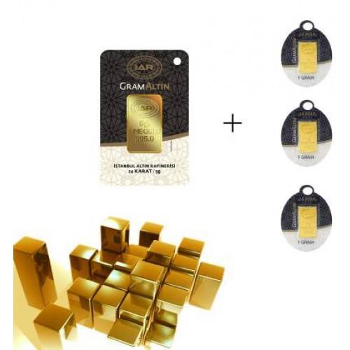 8 Gr (5 3) Külçe Altın IAR 24 Ayar (stoklarla sınırlıdır)